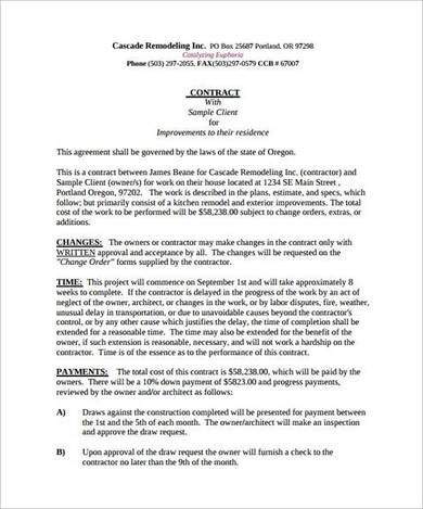 contract template for kitchen remodeling