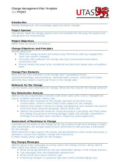 editabe cdc change management plan template