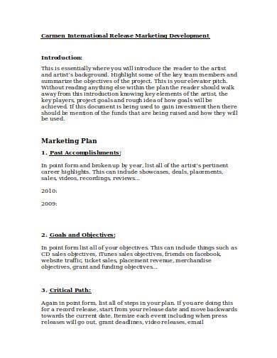 editable music marketing plan template