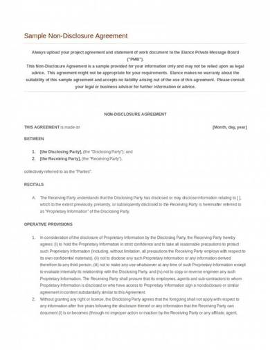 editable non disclosure agreement template
