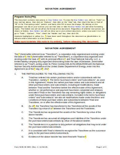 editable novation agreement template