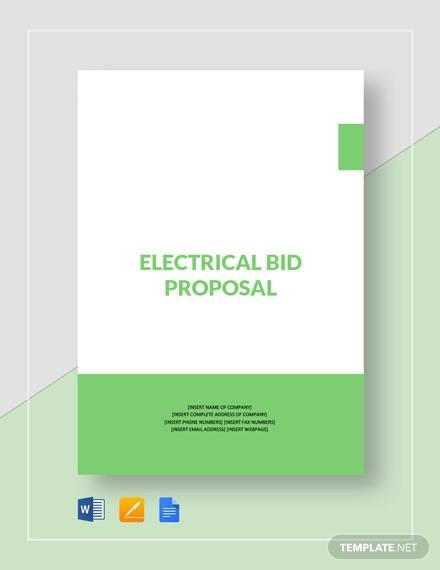 electrical bid proposal template