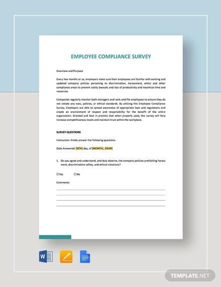Employee Survey Sample 13 Documents In Word Pdf