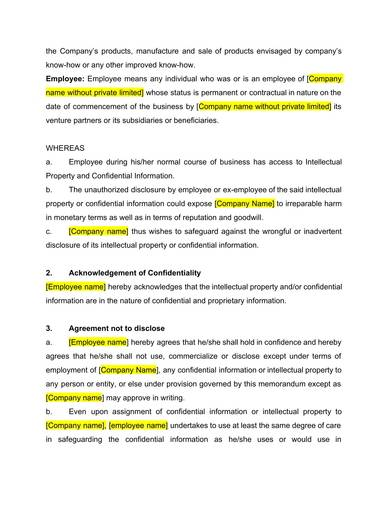 employee non disclosure and non compete agreement sample 3