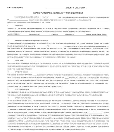 equipment lease purchase agreement sample 1