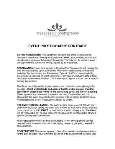 event photography contract sample 1