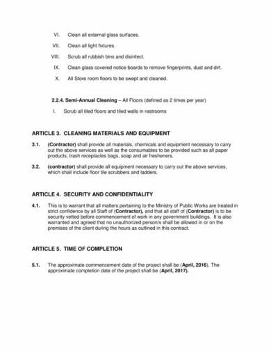 fixed cleaning services contract template