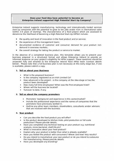 food start up proposal template