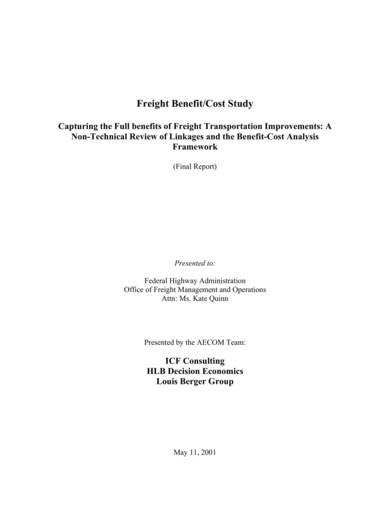 freight benefit cost analysis sample