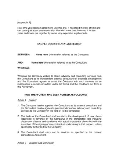 general consulting services agreement sample 1