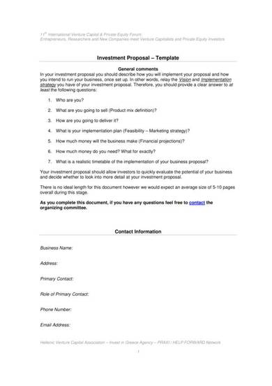 general investment proposal template