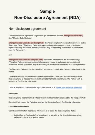 general non disclosure agreement template