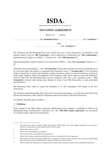 isda novation agreement template 1