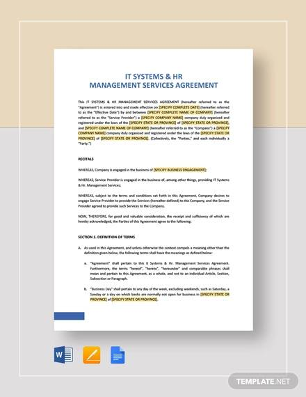 it systems hr management services agreement template