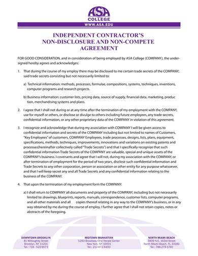 independent contractors non disclosure and non compete aagreement sample 1
