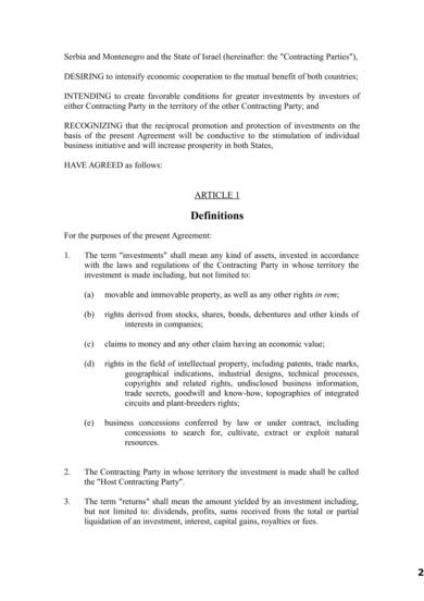 investment protection agreement sample 02