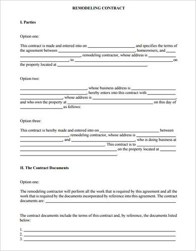 kitchen improvement contract template