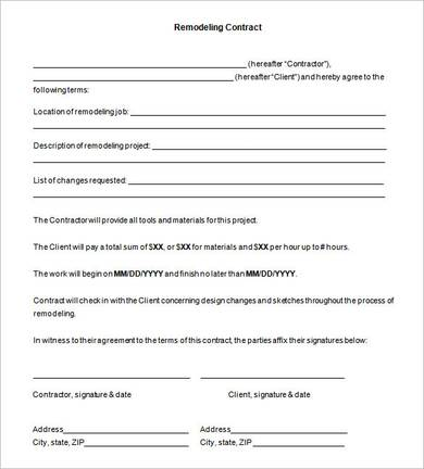 kitchen remodeling contract agreement template