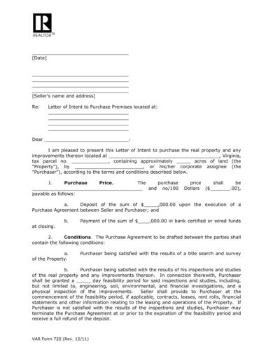 letter of intent to purchase commercial land 1