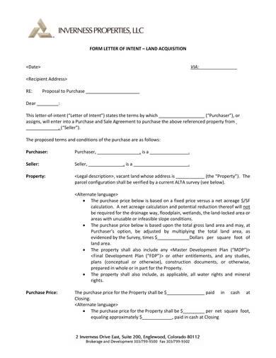 letter of intent for land aquisition sample 1