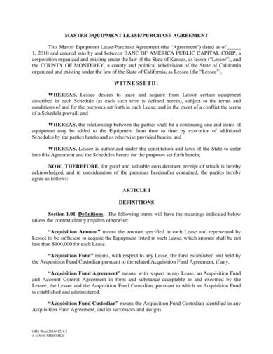 master equipment lease purchase agreement sample 01