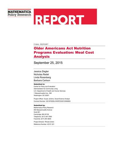 meal cost analysis sample