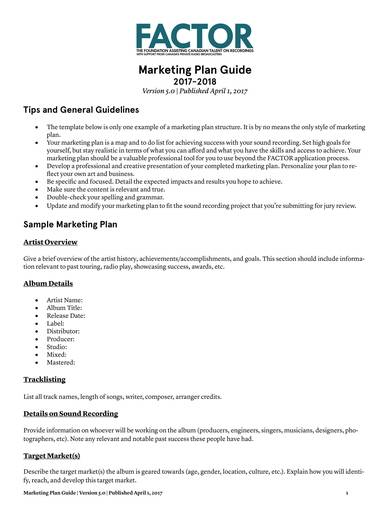 music foundation marketing plan template