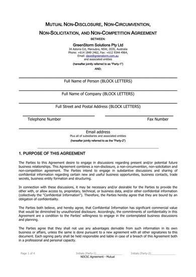 mutual non disclosure and non compete agreement sample 1