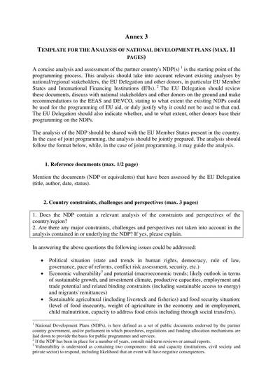 national policy analysis template