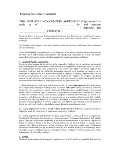 non disclosure and non compete agreement sample form 1