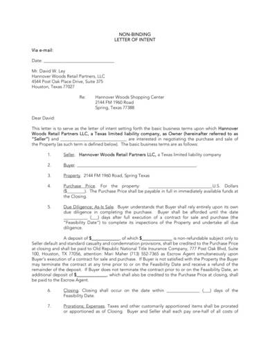 nonbinding letter of intent to purchase land 1