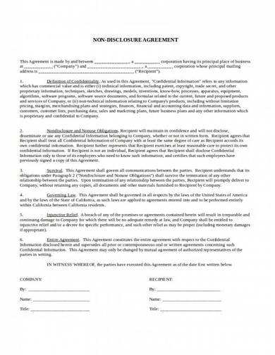 one way non disclosure agreement template