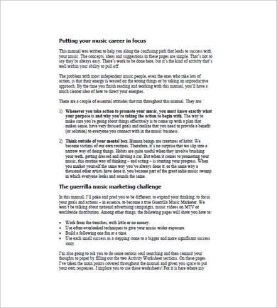 online music marketing plan template