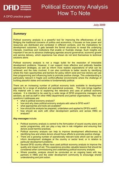 political economy analysis sample template 01