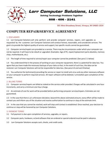 printable computer services contract sample