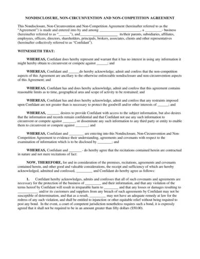 printable non disclosure and non compete agreement sample 1