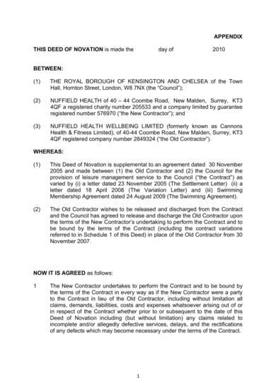 printable novation agreement template 1