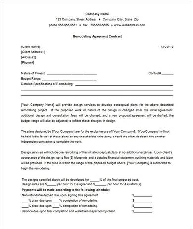 printable remodeling agreement contract