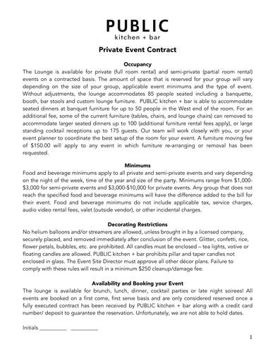 private event contract sample 1
