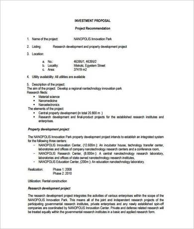 property investment proposal sample template