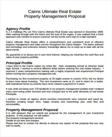 real estate property management sample template