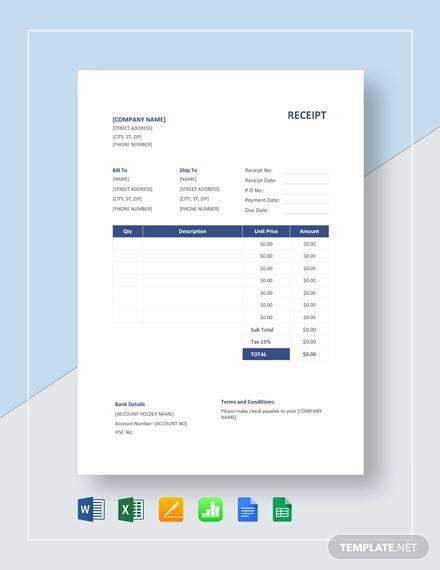 receipt format template