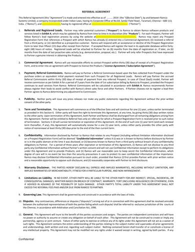 referral agreement draft sample