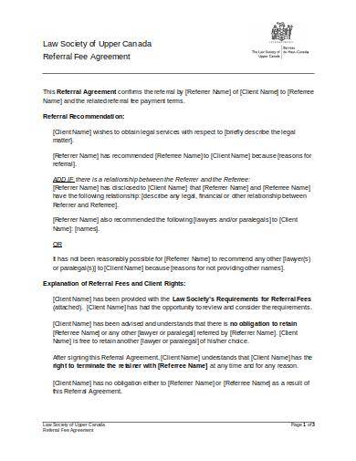 referral agreement form sample