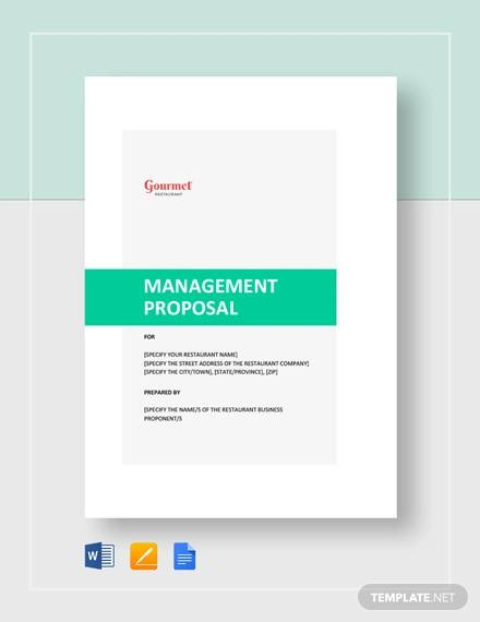 restaurant management proposal template