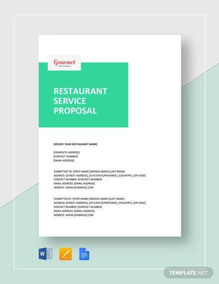 restaurant service proposal template
