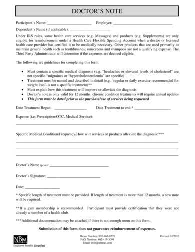 sample doctors note form