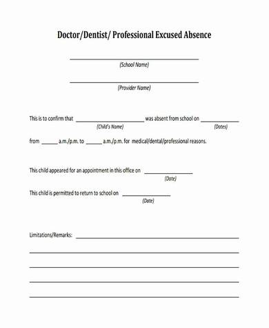 sample doctors note for excused absence