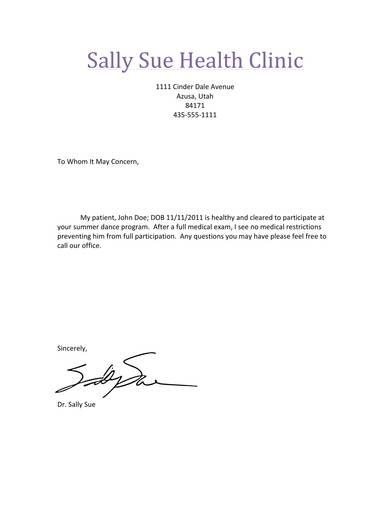 sample doctors note for summer dance
