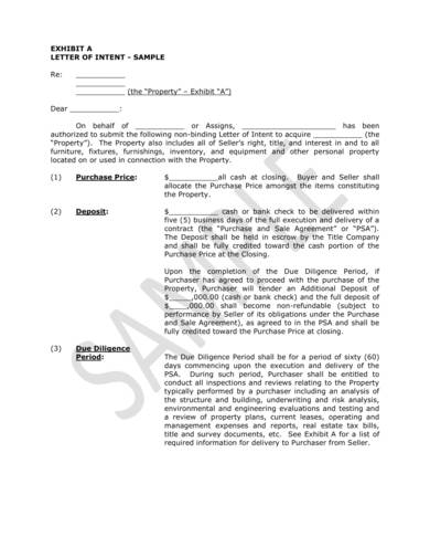 sample letter of intent form for purchase 1